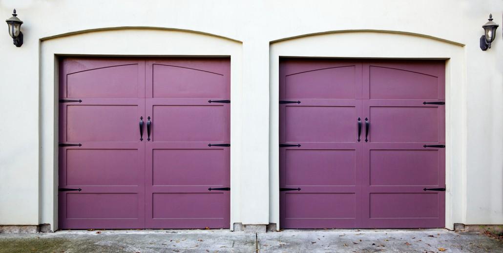 Two purple garage doors