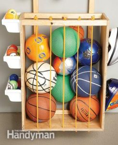 Organize garage for Mother's Day with ball corral.