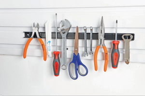 DIY megnetic tool strip , organize garage for Mother's Day