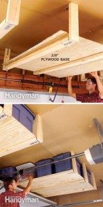 DIY suspended shelving, organize garage for Mother's Day