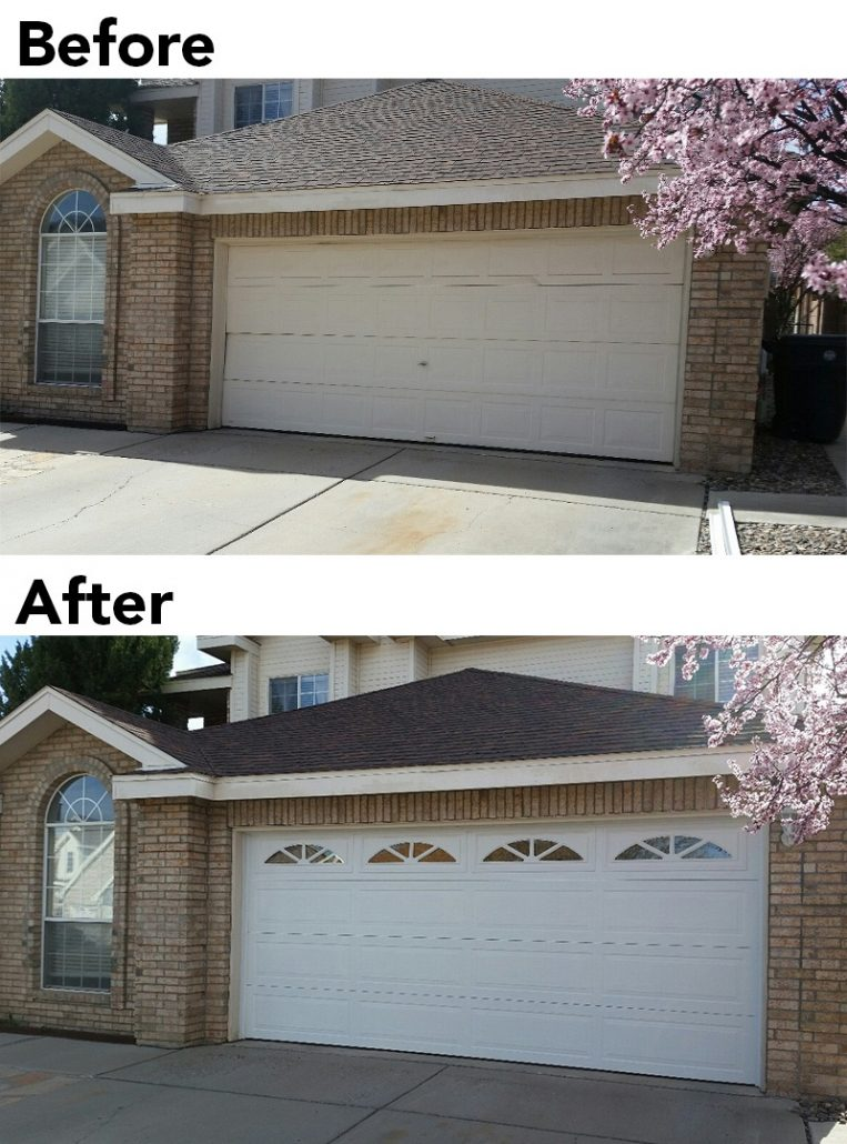 Garage door upgrade before & after, enhanced curb appeal