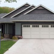 Home with steel garage door