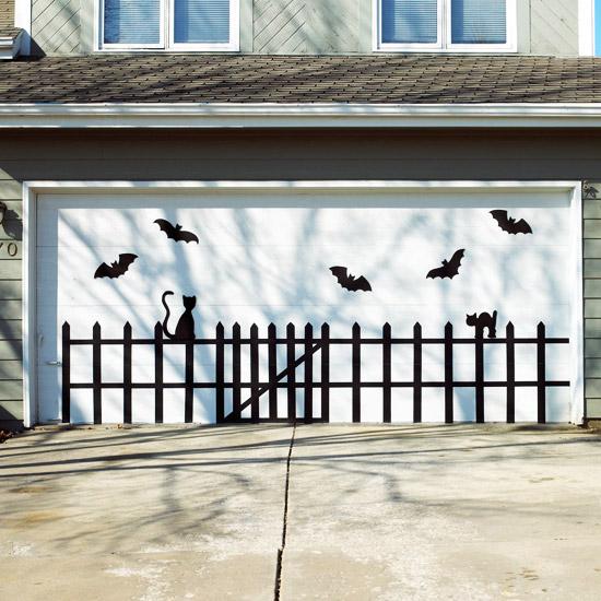 Halloween garage door decoration - Bats & Cats