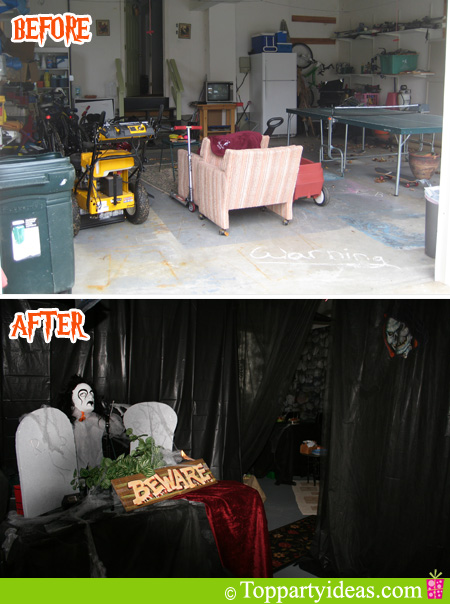 halloween garage door decoration haunted house
