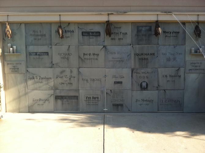 Halloween garage door decoration - Tombstones